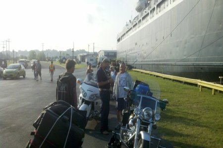 Waiting with other bikers to board the S.S. Badger