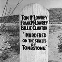 A tombstone in Boot Hill Cemetery